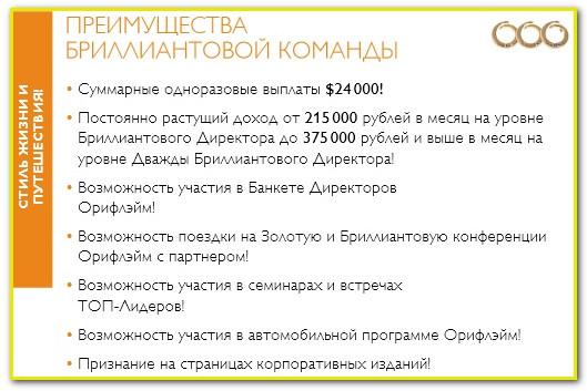 Бизнес план орифлейм Брилиантовые директора