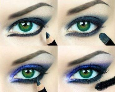 Макияж под синее платье для зеленых глаз